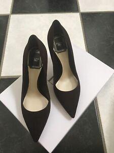 NIB 100% AUTH Christian Dior Cherie Brown Suede Pointy Pumps 8cm $650 SZ 35