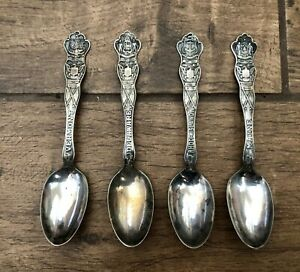 Lot of 4 Wallace AI Silver Plated Souvenir Spoons Vermont, Maine, Delaware, R.I.