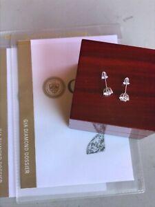 1.60TW earrings studs in 18k white gold GIA