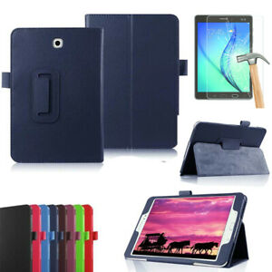 For Samsung Galaxy Tab S S2 Tablet Glass Screen + PU Leather Case Stand Cover