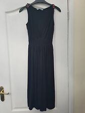 TU BLACK STRETCH WOODEN BEAD TRIM STRAPPY V-NECK KNEE LENGTH FLOATY SUMMER DRESS