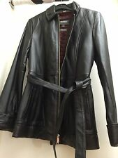Wilsons Black Leather zip & belted coat Small REDUCED was $99.99 originally
