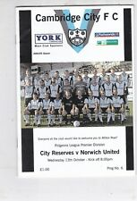 CAMBRIDGE CITY RESERVES V NORWICH UNITED EASTERN LEAGUE 13/10/2004