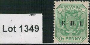 Lot 1349 -Transvaal 1901 ½d green mint Shield stamp overprinted E.R.I.