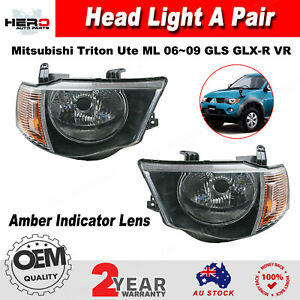Head Light Lamp Amber For Mitsubishi Triton Ute ML GLS GLX-R VR 06~09 Pair