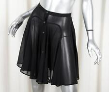 ALAIA Womens Black Silk Chiffon Semi-Sheer Button-Down A-Line Mini Skirt XS