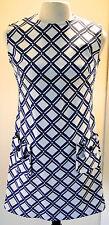 Deadstock Vintage 1960s Lawson Knits Blue White Graphic Print Mod Shift Dress 16