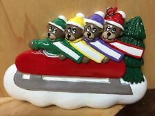 FOUR BEARS ON SLED PERSONALIZE YOURSELF RESIN CHRISTMAS / HOLIDAY TREE ORNAMENT