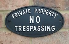 Private Property No Trespassing Sign Cast Iron Garden Door Gate Wall Plaque New