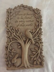 "VINTAGE 2007 CARRUTH BIRD IN TREE STONE 8"" WALL PLAQUE"