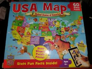 Master Pieces Jigsaw Puzzle USA Map 60pc State Shaped Pieces learning,america
