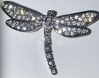 Vintage Costume Style Small Crystal Rhinestone Dragonfly Silver Tone Brooch