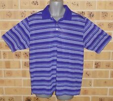 New XL Mens Golf Shirt Purple Lilac White striped Shop Quality Polyester