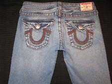 True Religion Jeans Women Rainbow Billy Slim Straight w Flap Pocs Sz 27