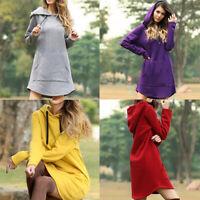Sweater Pullover Hoodie Dress Hooded Long Sleeve Jumper Sweatshirt  Tops Women