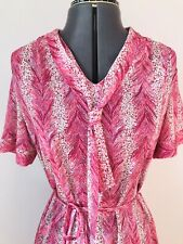 "Vintage Dress 40s Tea Summer Day House Midi Pink Sz 16 44"" Bust"