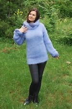 Blue Hand Knitted Mohair SWEATER Fuzzy soft Pullover by SSEu