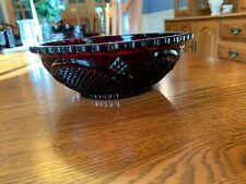 "Vintage Avon 1876 Cape Cod Ruby Red Glass 8 1/2"" Diameter Serving Bowl-3"" Deep"
