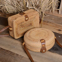 Women Straw Bag Hand Beach Rattan Shoulder Bags Bamboo Bag Handbag Crossbody UK