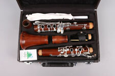 New CLARINET rose wood Bb Key 17 Keys Nice Sound silver Plated #A11