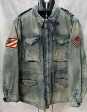 Polo Ralph Lauren Men's Military Field Jacket Coat Army Denim Lrg Patch Flag NWT