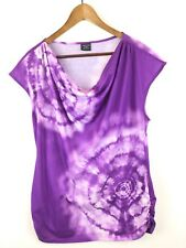Tie Dye Plus Size 1X Tee Shirt Embellished Purple White Studs 18/20 Soft Top