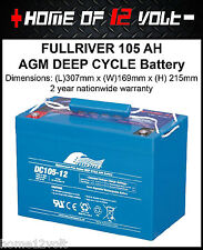 FullRiver 105 AH AGM VRSLA Deep cycle Caravan camper trailer Battery DC105-12