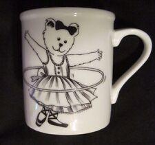 TEDDY BEAR IN DRESS Ceramic Coffee Mug JAPAN Rare Hula Hoop?