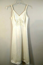 """Sears Womens 34 """"The Doesn't Slip"""" Ivory Lace Full Slip color stain Vintage"""