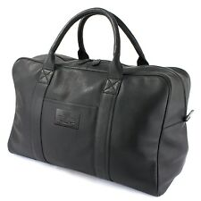 The British Bag Company Travel Holdall Black Leather Mens Gift 27193