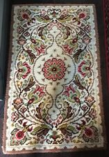 "VINTAGE EARLY 20TH C HAND HOOKED WOOL RUG  36"" X 58"""