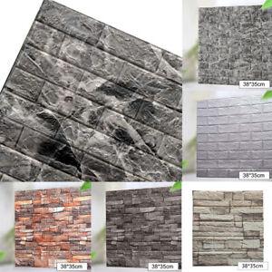 3D Realistic Brick Wallpaper Panels Peel Wall Sticker Self Adhesive Office Decor