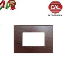 PLACCA CAL 3 FORI COMPATIBILE BTICINO AXOLUTE LEGNO NOCE NAZIONALE UNI400/3