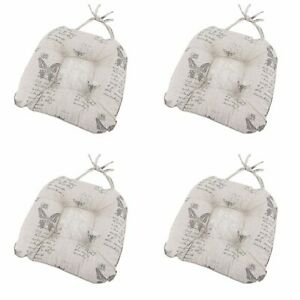 Butterfly Seat Pad Kitchen Home Decor 100% Cotton Grey Set of 4