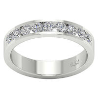 Anniversary Wedding Ring I1 G 1.10 Ct Round Diamond Channel Set 14K White Gold