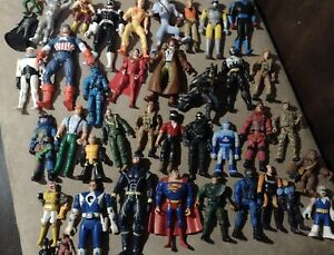 Lot Of 42 Assorted 1990-2000s Action Figures DC Marvel TMNT Power Rangers & More