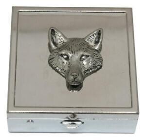 Fox Head  Square Pill Trinket Box Chrome with Mirror Gift 141