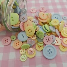 75g  mixed pastel  buttons pink blue lemon ...... craft various sizes