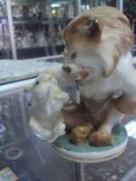 Fairy tale Lion with hare Lomonosov LFZ USSR Russian porcelain figurine 1712u