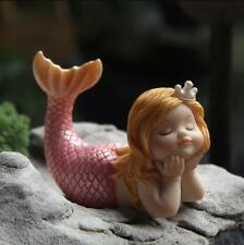Sleeping Mermaid Fairy Garden Figurine Statues Miniature Home Decor Ornaments