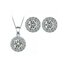 Hearts & Arrows Round-Cut Necklace and Earrings Set CZ Cubic Zirconia CRYSTALA