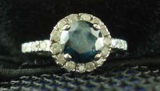 2.55 Ct Round Cut Treated Blue Diamond Engagement Ring Band 14K White Gold Over