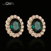 Emerald Rhinestone Clip Earrings Fashion Imitation Gemstone Jewelry For Women