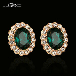 Emerald Rhinestone Clip Earrings Fashion Imitation Gemstone Jewelry For Women