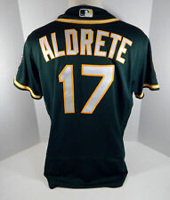 2018 Oakland Athletics A's Mike Aldrete #17 Game Issued Green Jersey 50th Patch