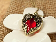 Vintage Red Rhinestone Heart Wrap by Angel Wing Pendant Fashion Necklace JK0958