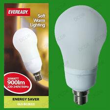 4x 20W Low Energy CFL Light Bulbs Power Saving GLS Bayonet Lamps, BC, B22 Globes