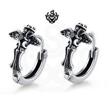 Silver huggies black crystal wings crown gothic cross stainless steel earrings