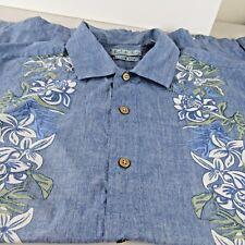 Batik Bay Men's XL Hawaiian Camp Shirt Reverse Print Blue Green Floral Cotton
