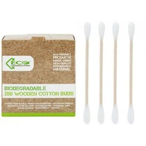 200 Biodegradable Eco Friendly Wooden Cotton Buds Q-Tips